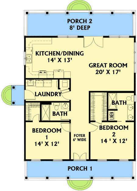 Plan 2568dh small plan big heart hallways kitchen for 9 ft wide living room