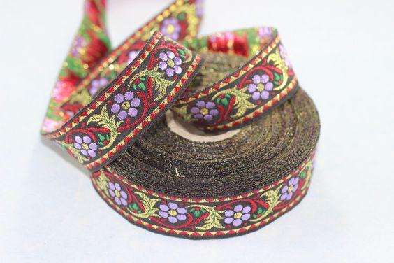 Rubans tissés, 1m 35 mm ruban brodé floral tissé à la frontière est une création orginale de WashiMania sur DaWanda