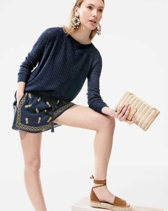 """J.Crew women's embroidered short in gauzy cotton. Should we change the saying to """"cool as a pineapple""""?:"""