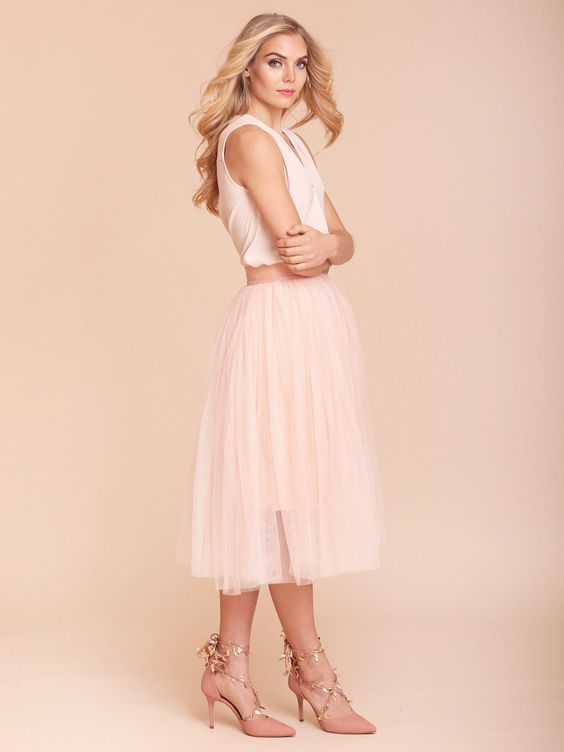 Wedding pink and bridal shower dresses on pinterest for Wedding guest dress blush pink