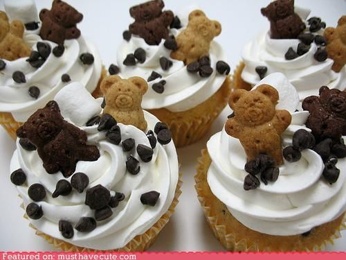It's like the chocolate chip cookie dough cupcake recipe, just topped with teddy graham crackers.
