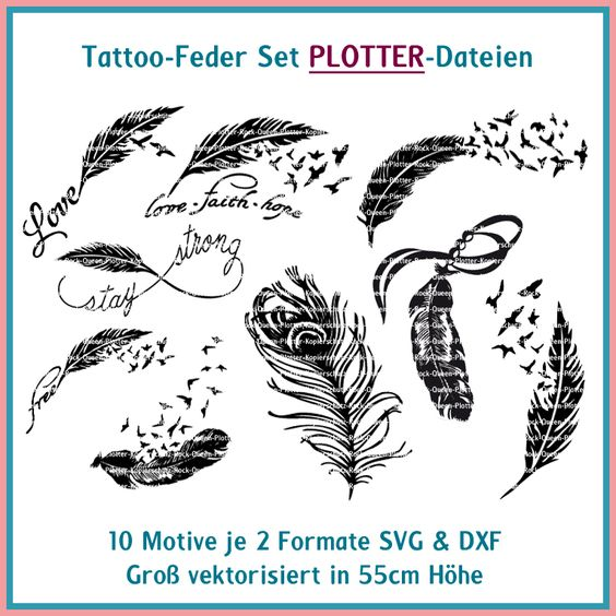plotterdatei tattoo feder set silhouette pinterest tattoos and body art. Black Bedroom Furniture Sets. Home Design Ideas