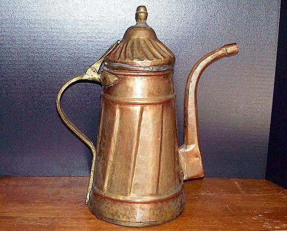 Vintage Primitive Copper Bronze Coffee Pot Boiler ~ Wonderful Shabby Decor at ZenGirl