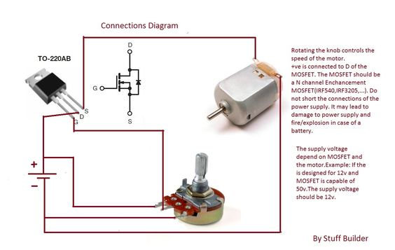 How To Build The Simplest Dc Motor Speed Controller Using Potentiometer Motor Speed Circuit Diagram Diy Electrical