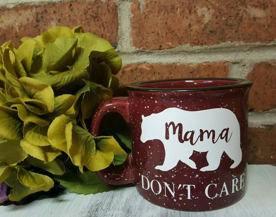 This amazing HEAVY ceramic 15 ounce campfire coffee mug is perfect for the Mama Bears is us or for a baby shower gift for a soon to be mama!  *The white mug is the only mug that will have the black vinyl lettering. All other colored mugs will have white unless requested otherwise*  **Please be sure to select a color mug: Blue, White, Maroon, Plum or Terra Cotta Orange**  The diameter of the coffee mug is approximately 4 inches not including the handle.  Special Care: Microwave safe hand…