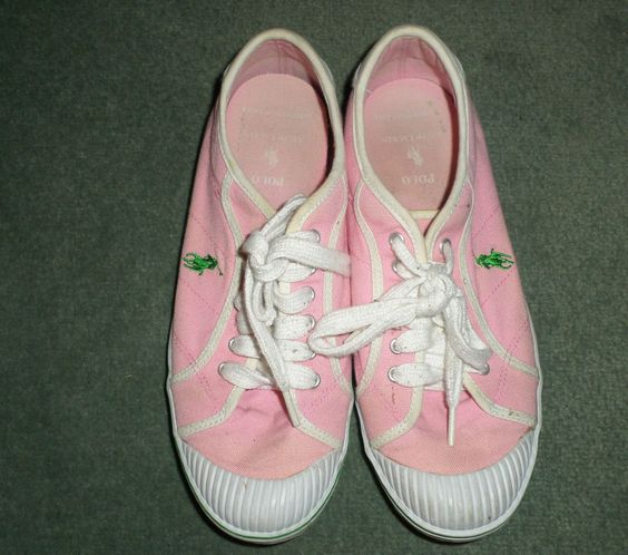 s pink white ralph polo canvas lace up