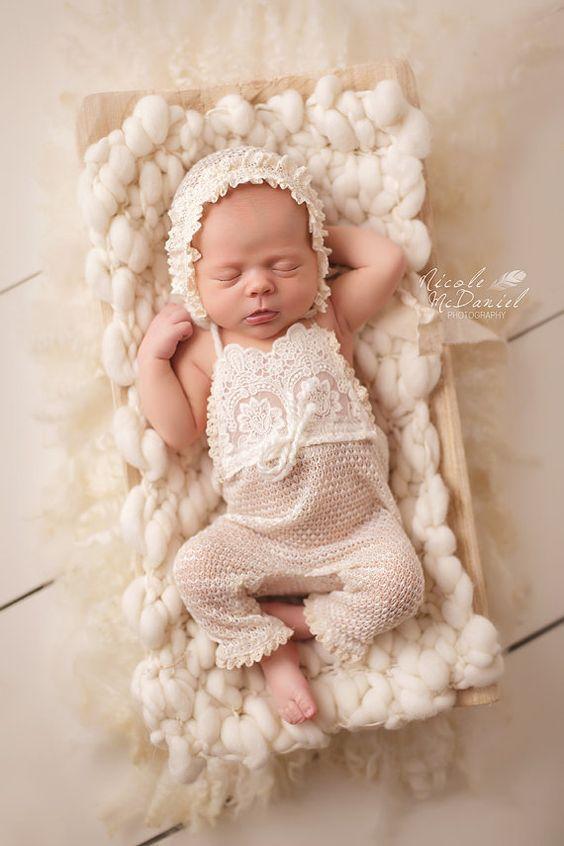 Newborn Photography Knitting Patterns : Romper bonnet set cream sweater knit vintage ivory lace