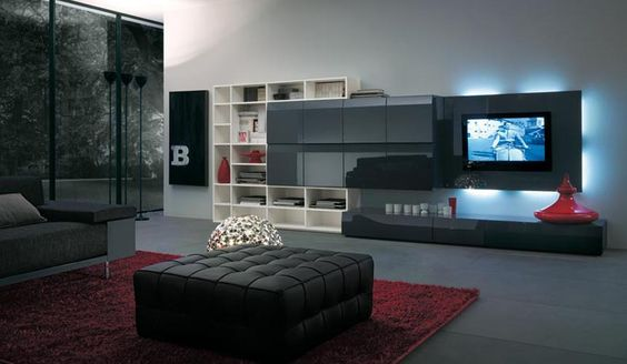 Modern TV Wall Units for Living Room Designs - Image 02 : Black ...