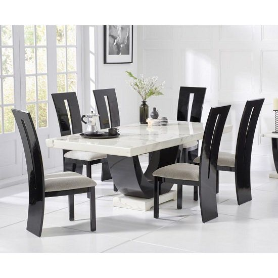 Allie Marble Dining Table In White Black With 6 Ophelia Chairs Marble Top Dining Table Dining Table Marble Dining Table Design Modern