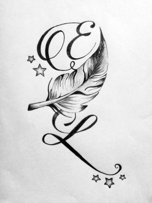 Tatouage de lettres entrelac es avec une plume tatouages pinterest tatouages infini et - Tatouage signe infini avec prenom ...