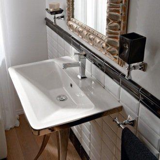 Scarabeo By Nameeks Butterfly Ceramic Rectangular Vessel Bathroom Sink With Overflow In 2021 Bathroom Sink Sink Wall Mounted Bathroom Sinks