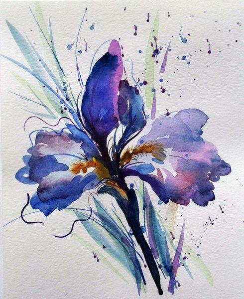 Iris flower watercolor painting Original watercolor artwork