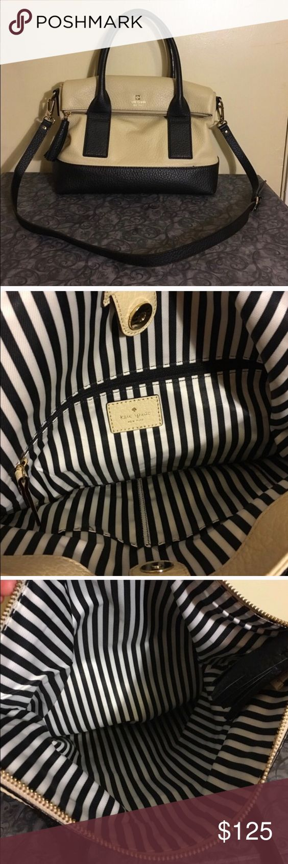 Kate Spade Cobble Hill W/ Crossbody Strap KS cream & back bag with cross body strap. Signs of wear posted in photo 4. Some wear on the back black squares the handles are attached to. The photo shows the wear of the block on the left side (it has more wear than the other) but it's not very noticeable unless the light is hitting it & it's the side that will be against your body while you carry it. The straps have also slightly stained the cream area but it's not noticeable when's it's being…