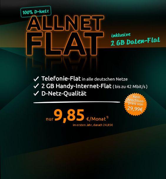 Crash Tarifaktion: 2 GB Allnet-Flat bei 42 Bit/s im Telekom D1-Netz ab 9,85 Euro -Telefontarifrechner.de News