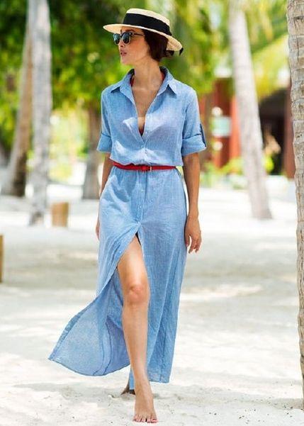 vestido jeans chambray com chapeu de palha look verao 2017
