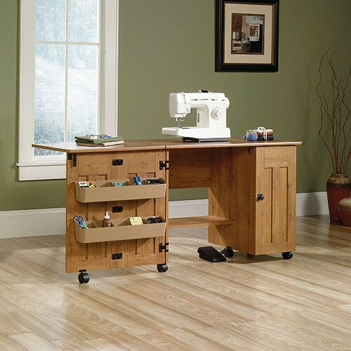 Sauder Sewing And Craft Table Adjustable Shelving Storage