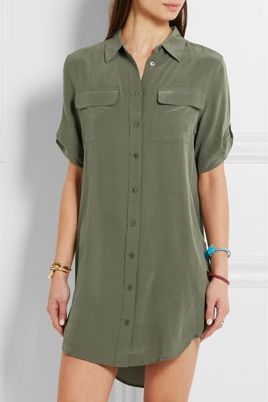 Army-green washed-silk Button fastenings through front 100% silk Dry clean Designer color: Dusty Olive