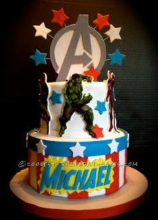 Coolest Avengers Birthday Cake... This website is the Pinterest of birthday cake ideas