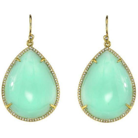 Irene Neuwirth Mint Chrysoprase Teardrop Earrings With Pave Diamonds: Green Earrings, Diamond Jewelry, Mint Green, Teardrop Earrings, Mint Earrings, Mint Color, Ahhh Mint, Mint Teardrops