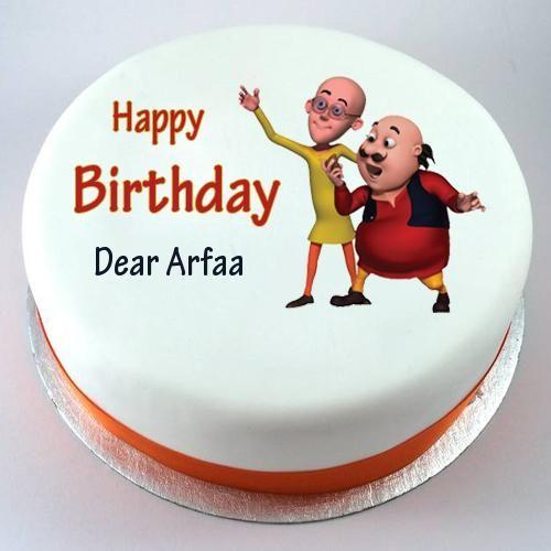 Happy Birthday Motu Patlu Cute Kids Cake With Your Nam Alam