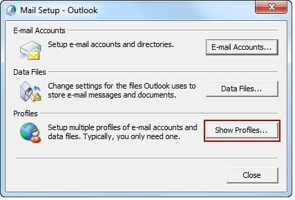 fix Error code 0X8004010F In Outlook-Click on show profile