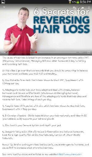 """Six secrets for reversing hair loss"" by Dr. Josh Axe on YouTube."