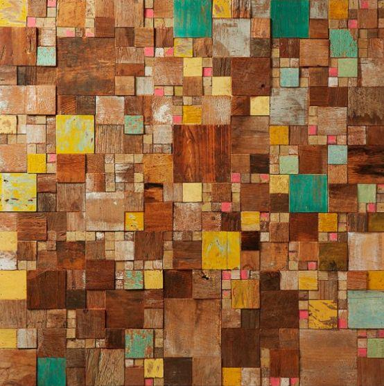 Cuadro con mosaicos de madera tropical reciclada muebles - Mosaico de madera ...