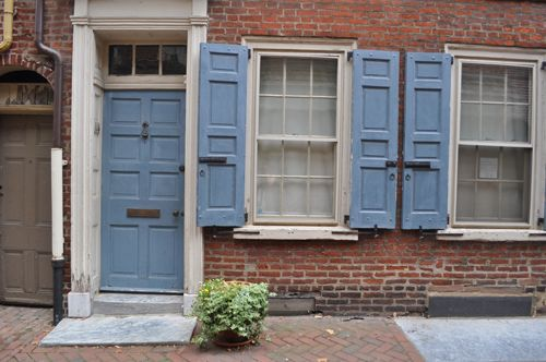 Blue Door And Blue Shutters In Philadelphia Via Katy