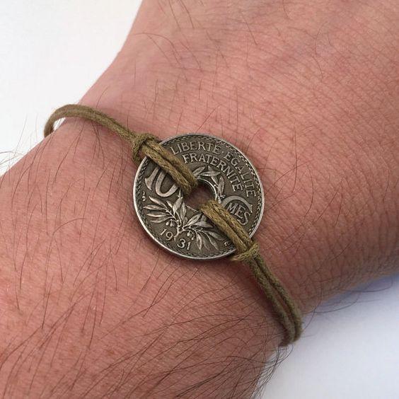 Unisex coin bracelet French franc 1931 by AdornmentsNYC on Etsy