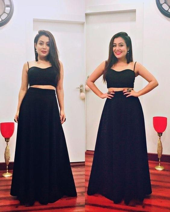 Pin By Roshni On Neha Kakkar In 2020 Neha Kakkar Dresses Floral Skirt Outfits Designer Party Wear Dresses