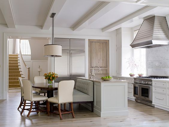 Lovely white kitchen with classic and traditional style interior design by Phoebe Howard. #kitchen #classic #interiordesign #whitekitchen #sophisticated