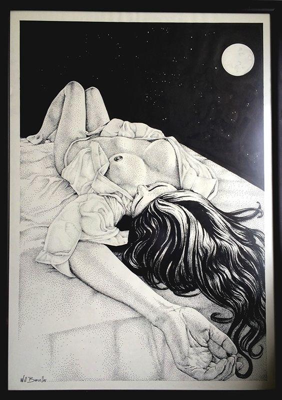 """Banho de Lua"" #arte #art #dot #dotart #draw #desenho #dotwork #nude #nudewoman #nudeart #nuartistico #finearts #Fineart #handmade #ink #blackandwhite #paint #pen #pointillism #pontilhismo #watercolor #draw #sketch #Staedtler #stippling #stipplingart #pintura"