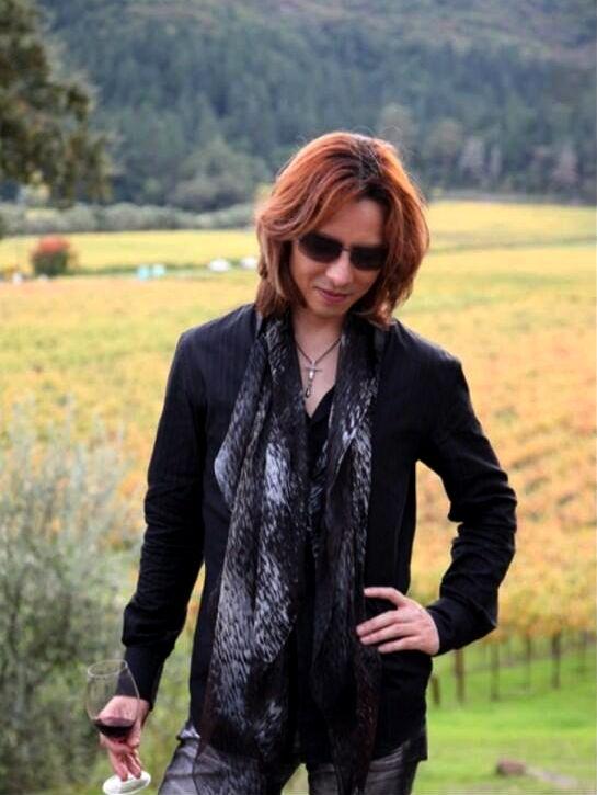 サングラスをかけて畑の中に立っているXJAPAN・YOSHIKIの画像