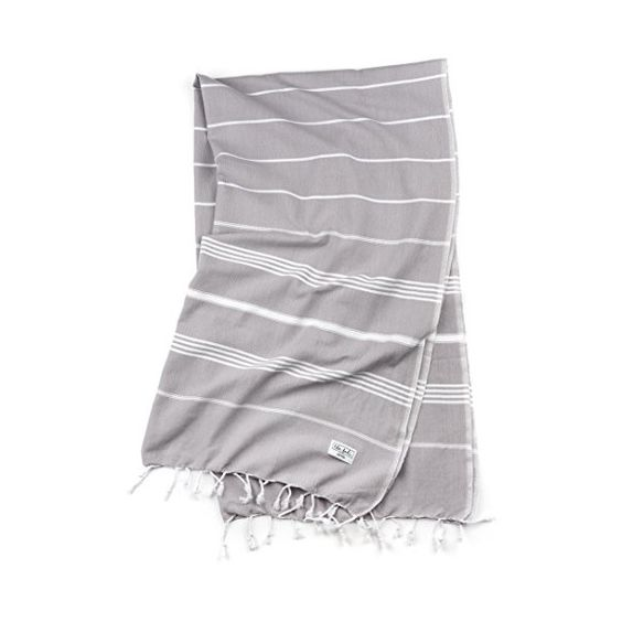 Aria 100% Cotton Pestemal Turkish Beach Towel, Striped, Grey, Quick Drying and Space Saving for Travel, Yoga, Hand Loomed in Turkey, Grey