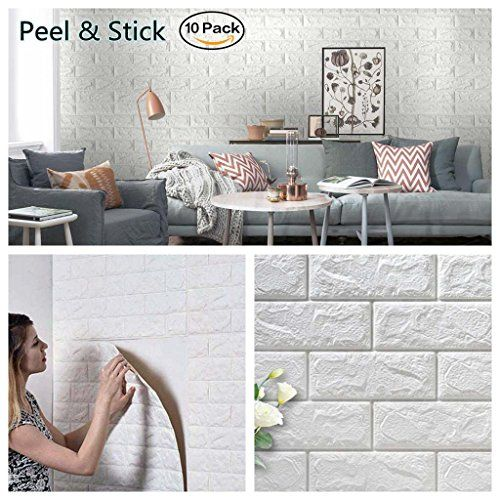 Masione 3d Self Adhesive Wall Panels Faux Foam Bricks Wallpaper For Tv Walls Sofa Background Wall Decor White 10 Pieces 58 13 Sq Ft Brick Wall Paneling Faux Brick Walls Faux Brick Wall Panels