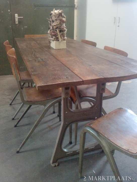 Marktplaats nl  u0026gt; Industriele eettafel  keukentafel gietijzeren onderstel  STOER   Huis en