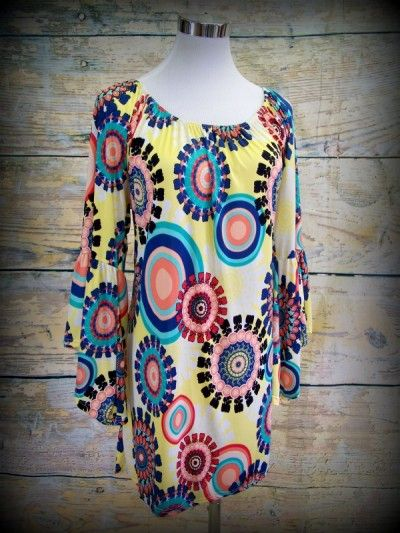 """""""Mellow Mornings"""" Tunic  92% polyester 8% spandex  Hand or machine wash cold Do not bleach  Made in USA 1X-3X www.jonesburch.com"""