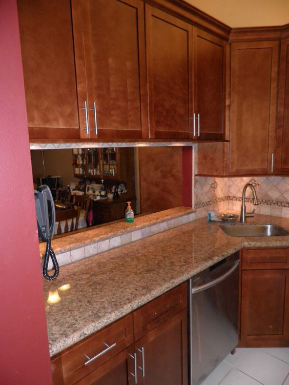 Hickory cabinets and granite golden king google search for Kitchen cabinets king