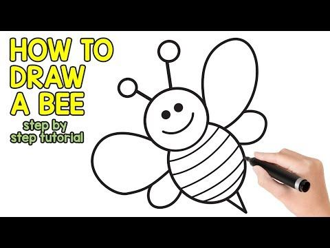 How To Draw A Bee Step By Step Drawing Tutorial Youtube In 2020 Bee Drawing Bee Sketch Drawing Tutorial