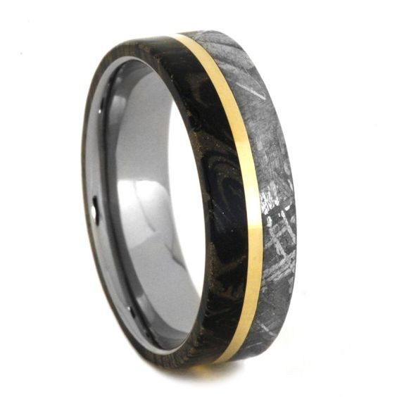 Yellow Gold Mokume Meteorite Wedding Band