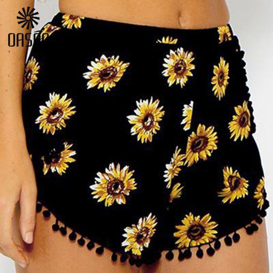 OASAP Summer Sweet Sunflower Print w/Pom Pom Tassel Trim Casual Shorts