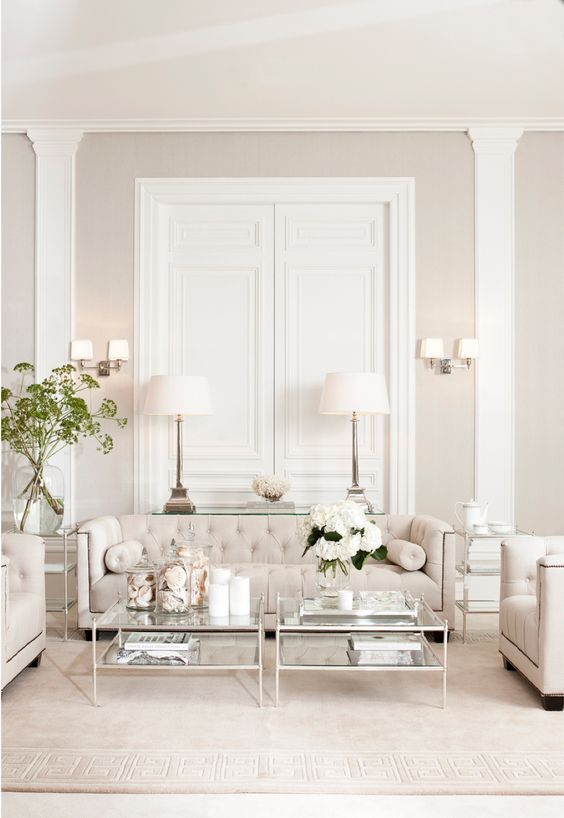 Two Coffee Table Which Are Almost The Width Of The Sofa Like Those Proportions Look At All The Symmetry All White Room Living Room White Living Room Designs