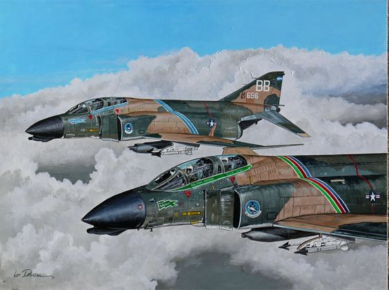 """""Gunfighters"" The F-4Ds of 366th TFW CO Col Paul Watson and DO Col ""Boots"" Blesse as they appeared in 1967, while flying combat missions over North Vietnam. Blesse is the author of the seminal USAF air combat manual ""No Guts, No Glory"" written as a result of his Mig-killing missions over Korea."""