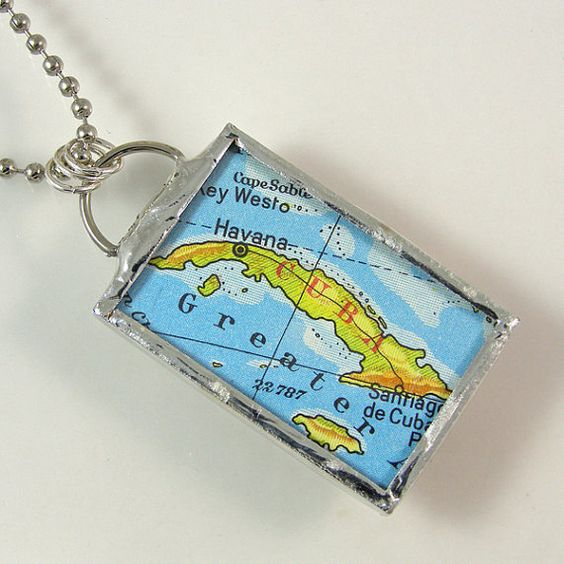 Cuba Vintage Map Pendant Necklace by XOHandworks $20