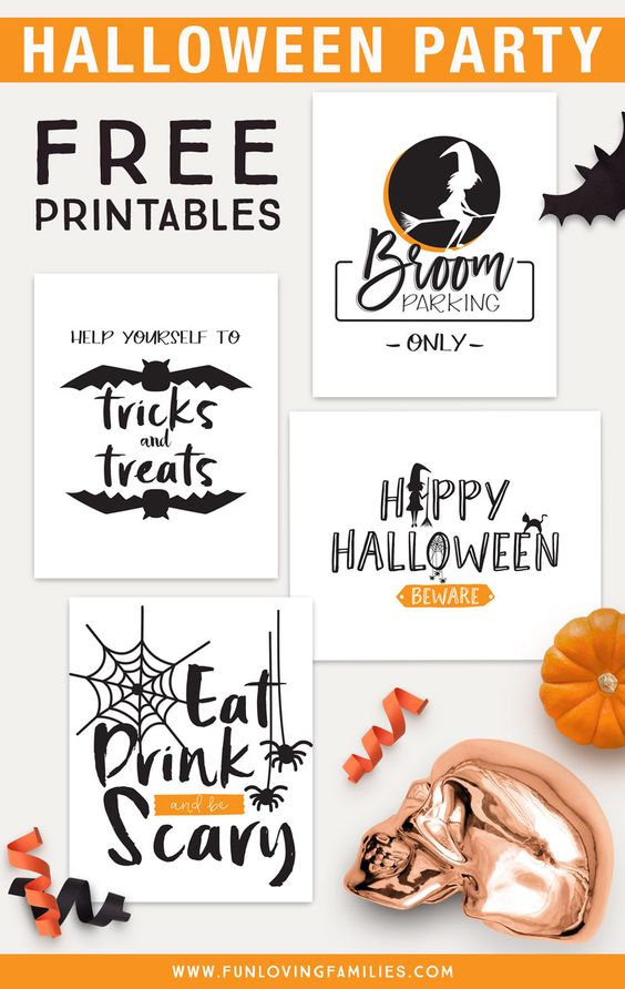 Use our Halloween party printables (including our Eat Drink and be Scary print!) for cheap and easy Halloween decorating. Click through for free downloads. #halloween #halloweenparty #halloweendecor #printables #download