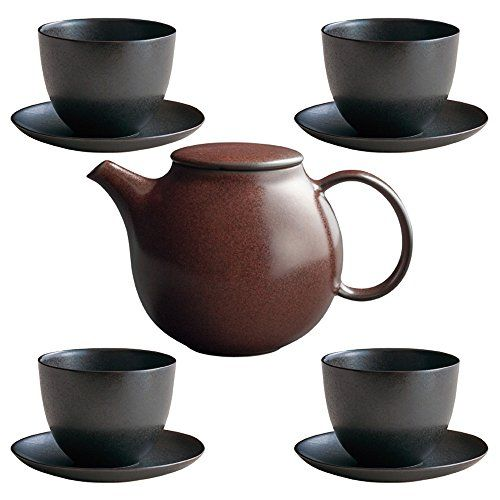 Kinto Pebble Brown Porcelain Teapot And Four Black Cup Saucer