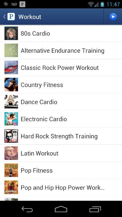 Pandora has a 'Workout' station featuring lots of different types of playlists! How rad!!!