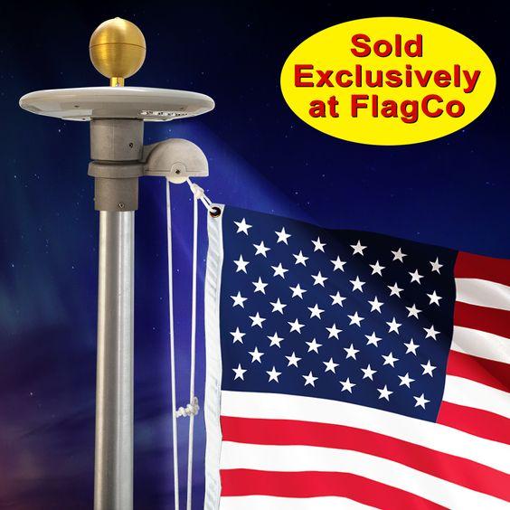 Revolving Solar Starlight #FlagCo #SolarStarlight #FlagpoleLighting