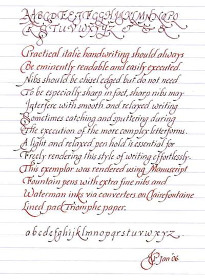 Italic handwriting basics techniques methodologies