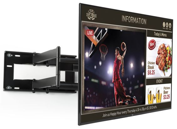 """This digital menu board includes a wall mounting bracket and LG® TV screen to create an all-in-one advertising bundle. The 65"""" commercial-grade monitor is equipped with SuperSign TV signage software for scheduling and displaying custom media to customers. This 1080p HD digital menu board with articulating bracket can present both broadcast television and informational content together on the same screen. Unlike static print advertising, electronic signage displays keep viewers engaged and enter"""